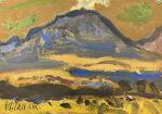 田辺三重松「雌阿寒岳」油彩 15.8×22.8cm