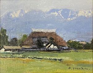 山下大五郎「安曇野の家」油彩
