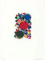 田中敦子「青・赤・緑の丸」版画 14.5×9.5cm
