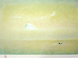 牛島憲之「初富士」版画 1987年