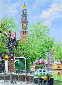 小田切訓「新緑の西教会」油彩