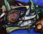 林武「魚図」油彩 1952年