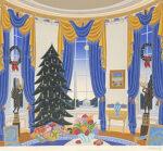 トーマス・マックナイト「ホワイトハウスブルールーム」版画66.6×76cm