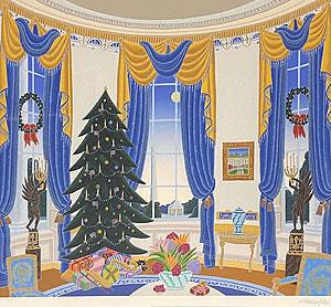 トーマス・マックナイト「ホワイトハウスブルールーム」版画
