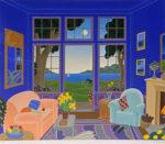 トーマス・マックナイト「ビスケーンベイ」版画71.2×81cm
