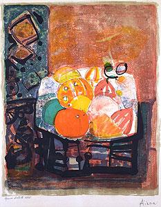 ポール・アイズピリ「フルーツバスケット」版画 1970年