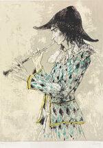 ジャン・ジャンセン「フルートを吹くアルルカン」版画 1985年