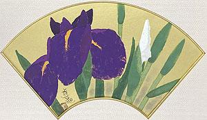 小倉遊亀「花菖蒲」木版画 1988年