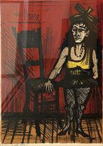 ベルナール・ビュッフェ「女装した小人:サーカスより」版画 1968年