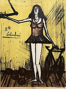 ベルナール・ビュッフェ「マドモアゼル コロンビン:サーカスより」版画 1968年