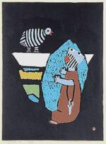畦地梅太郎「鳥とかたる」木版画 1968年