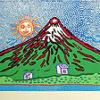 草間彌生「七色の富士(緑)」木版画
