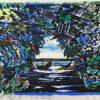 名嘉睦稔「緑の口」木版画