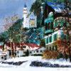 小田切訓「雪のノイシュバンシュタイン城」版画45×56cm