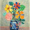 ポール・アイズピリ「グレー背景の花」版画55.1×45.1cm